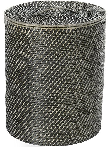 KOUBOO Laguna Round Rattan Hamper with Liner, Black Wash (Hampers Rattan)