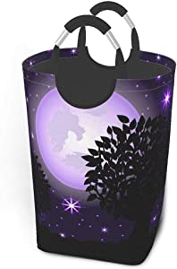 Collapsible Laundry Baskets Large Special Night Purple Scene Beautiful Dirty Clothes Laundry Hamper Dorm Fabric Fold Laundry Baskets W/Handles Rectangle Storage Bins For Kids Baby Girl Camp Travel 50l