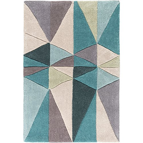 (Surya Cosmopolitan COS-9169 Transitional Hand Tufted 100% Polyester Teal Blue 2' x 3' Geometric Accent Rug)