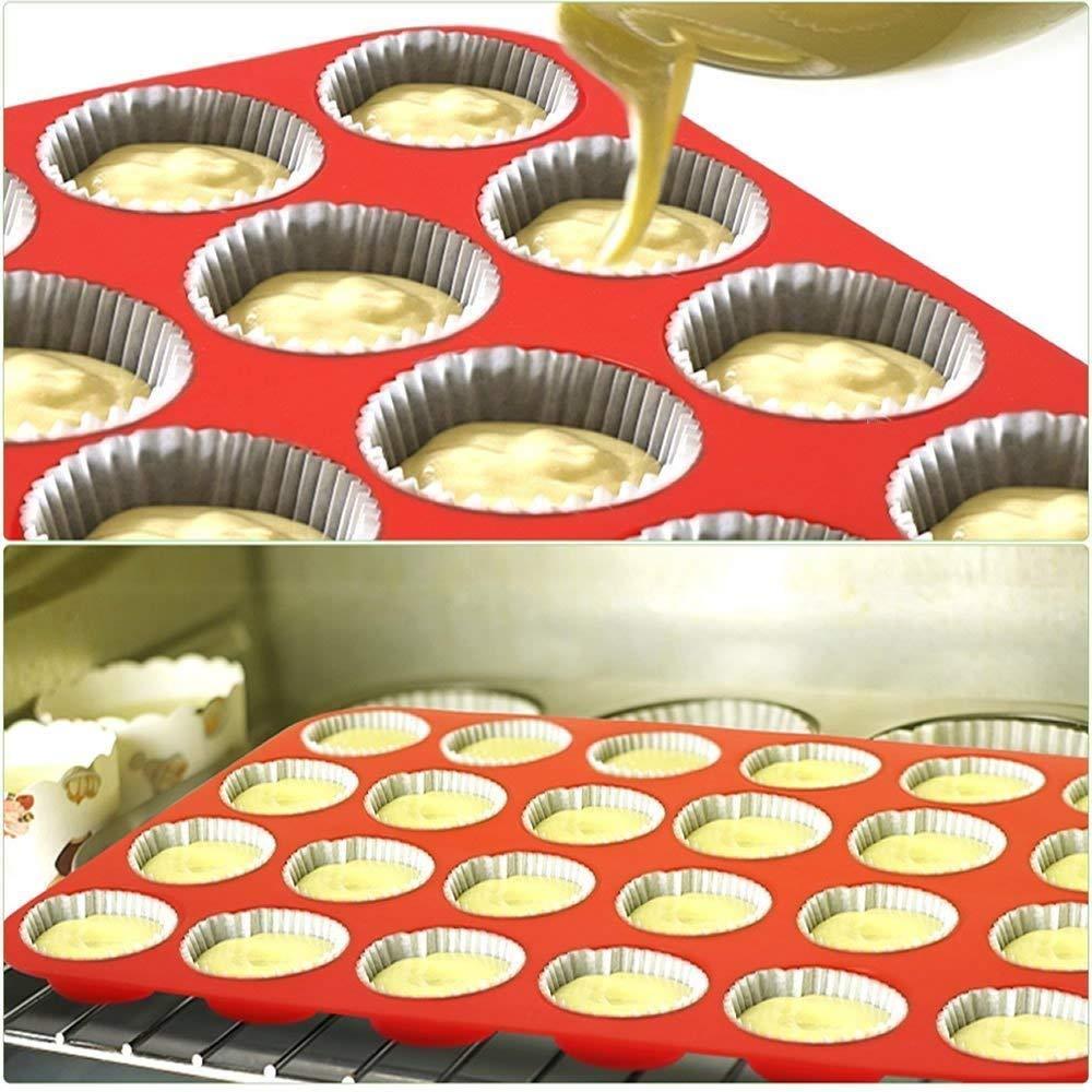 Rot Backformen antihaftbeschichtet gro/ß 24 Cupcake-Formen 2 St/ück Meiso Silikon-Mini-Muffin- und Cupcake-Backform Backformen Seife