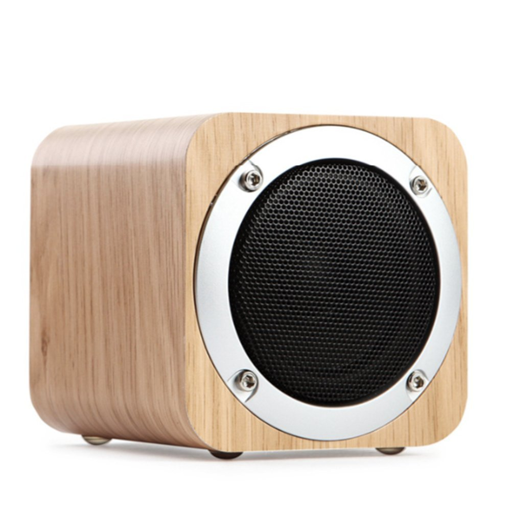 LANSIN New Creative (Wood Color) JH08 Wood Wireless Bluetooth speakers Subwoofer, TF Cards, AUX, 1800mAh, FM Radio by LANSIN