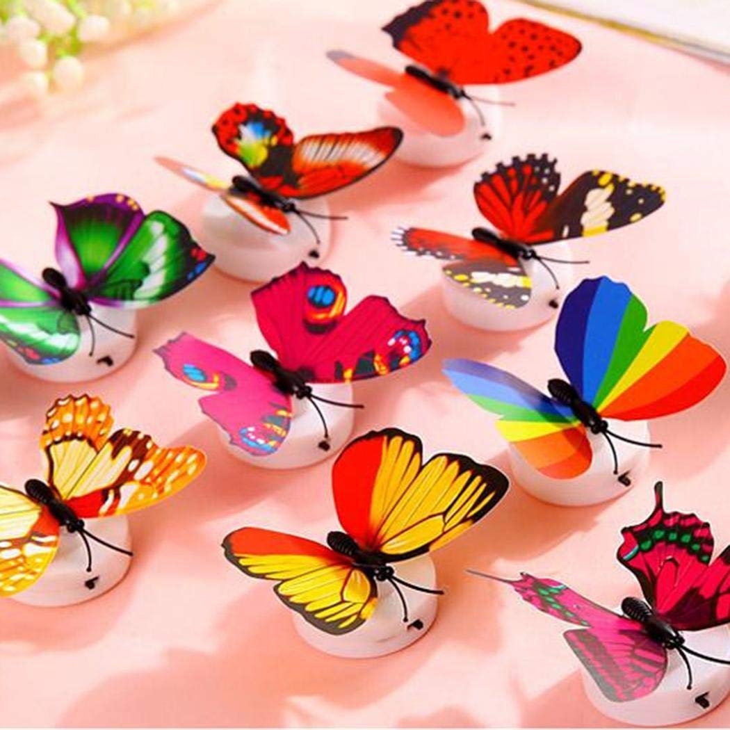 yiiena 5pcs LED Butterfly Night Light Lamp Color Changing for Kid Bedroom Party Festivals
