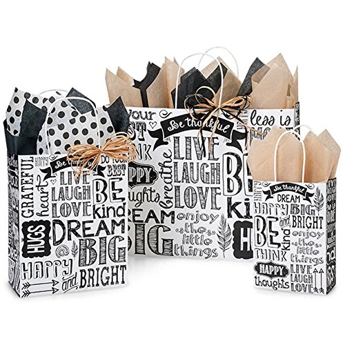 Chalkboard Sentiments Paper Shopping Bags - Assortment of 3 sizes - 250 Pack by NW