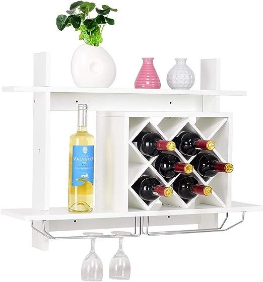 Mounted Wine Rack 5 Bottle Black Metal Wall Storage Holder Shelf
