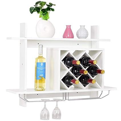 Amazoncom Giantex Wall Mounted Wine Rack Organizer Wmetal Glass