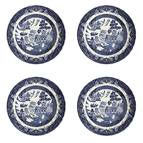 Queen's Blue Willow Salad Plates Made in England, 8-Inch, Set of 4