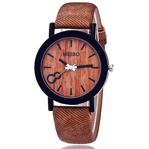 Mandystore MEIBO Modeling Wooden Quartz Watch Casual Wooden Color Leather Watch for Mens (Coffe)