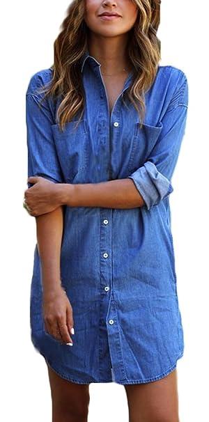buy online 2b192 00349 Lannister Fashion Vestiti Donna Eleganti Estivi Corti Ragazza Camicia  Vestito Taglie Forti Blu Abito Di Jeans Manica Lunga Casuale Ufficio Abiti  Mini ...
