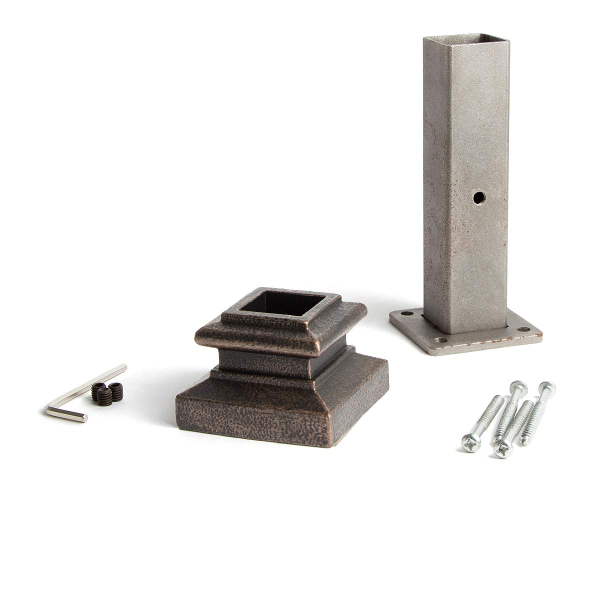 Oil Rubbed Bronze 16.2.3 Newel Mounting Kit for 1-3/16 inch Square Iron Newel Posts for Stair Remodeling by House of Forgings