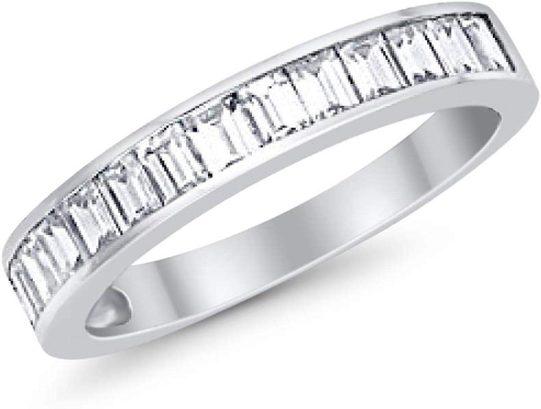 Blue Apple Co. Eternity Baguette Wedding Band Ring Baguette Cubic Zirconia 925 Sterling Silver Choose Color