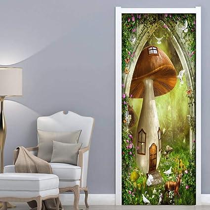 Fai Da Te Decorazioni Arredamento Casa.Adesivi Per Porte 3d Decorazioni Per La Casa Casa Dei Funghi Fai Da Te Porta Arte Adesivi Adesivi Arredo Casafiore Amazon It Fai Da Te