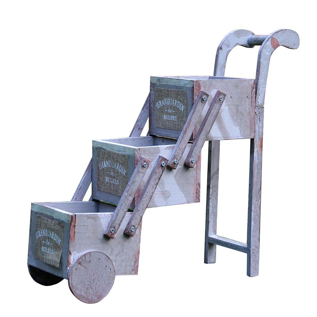 CSQ Mini Flower Stand Trolley, Small Flower Ladder Rustic Style Solid Wood Three Floors Shrinkable, Garden/Balcony/Living Room/Desktop Flower Shelf