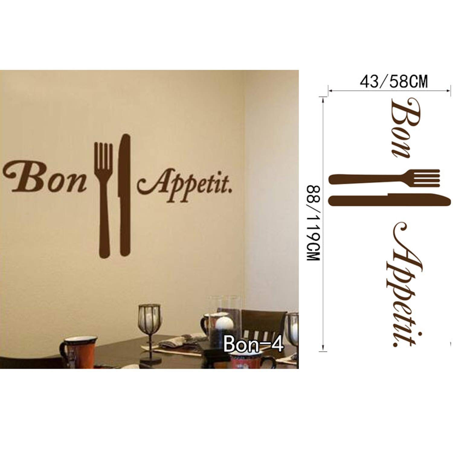 Amazon.com: Chitop Bon Appetit Food Wall Stickers - Kitchen Room Decoration DIY Vinyl Adesivo De Paredes - Home Decals Art Posters Wall Papers (Bon4) ...