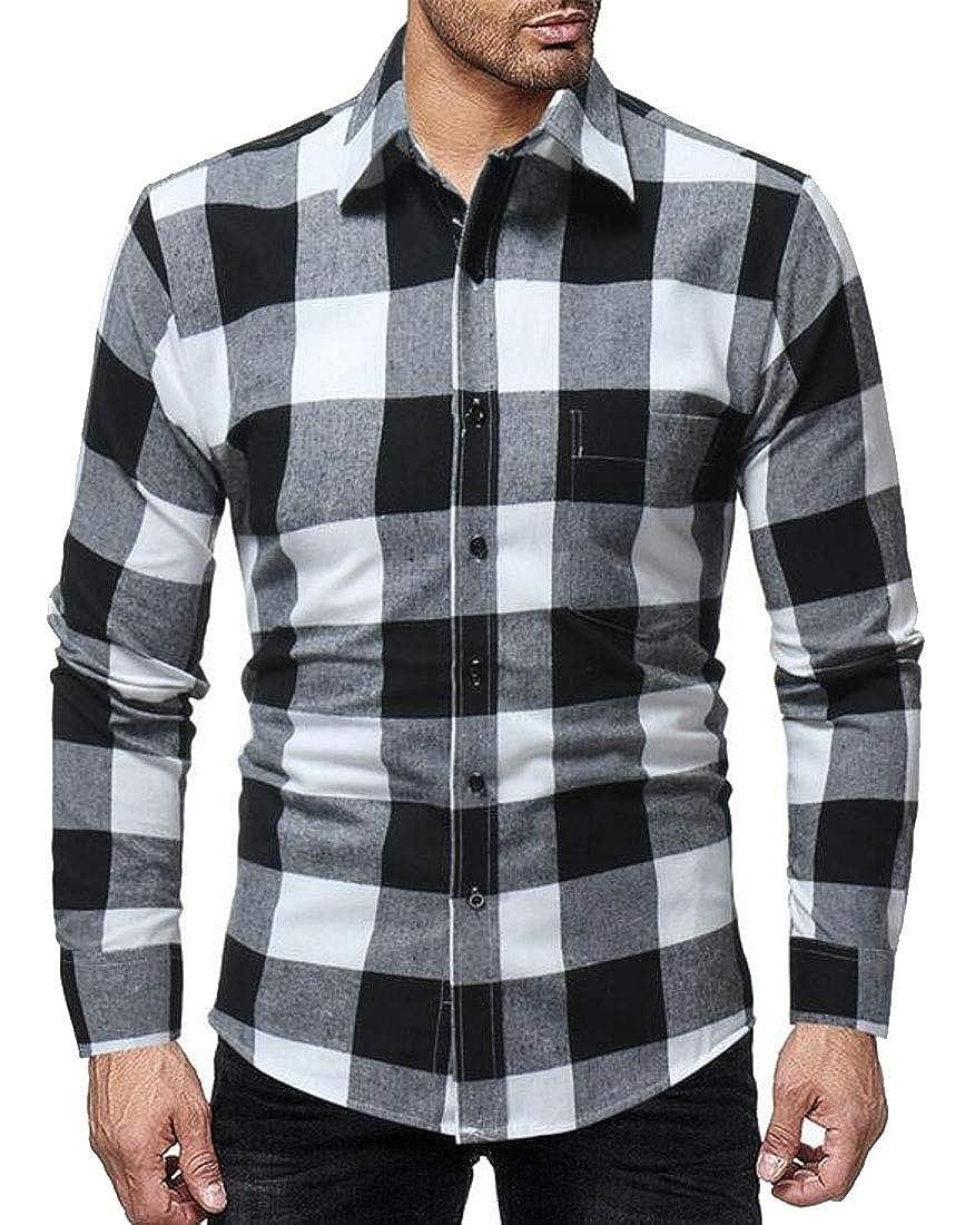 WSPLYSPJY Mens Casual Button Down Shirts Long Sleeve Regular Fit Plaid Shirt