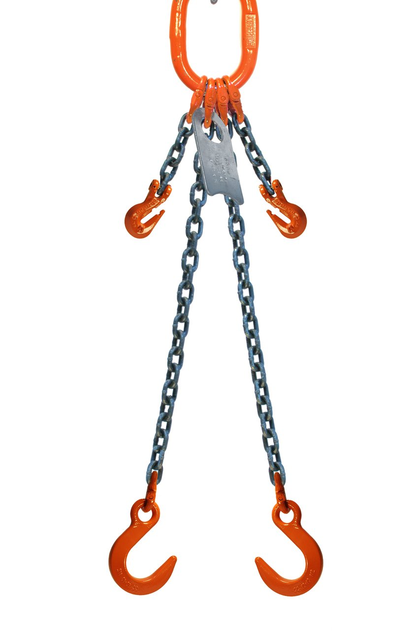Chain Sling - 3/8'' x 10' Double Leg with Foundry Hook and Adjuster - Grade 80