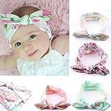 Culater® 4PC bambino neonato orecchie delle ragazze dei capretti di coniglio Hairband Turbante Bowknot Headwrap Hairband