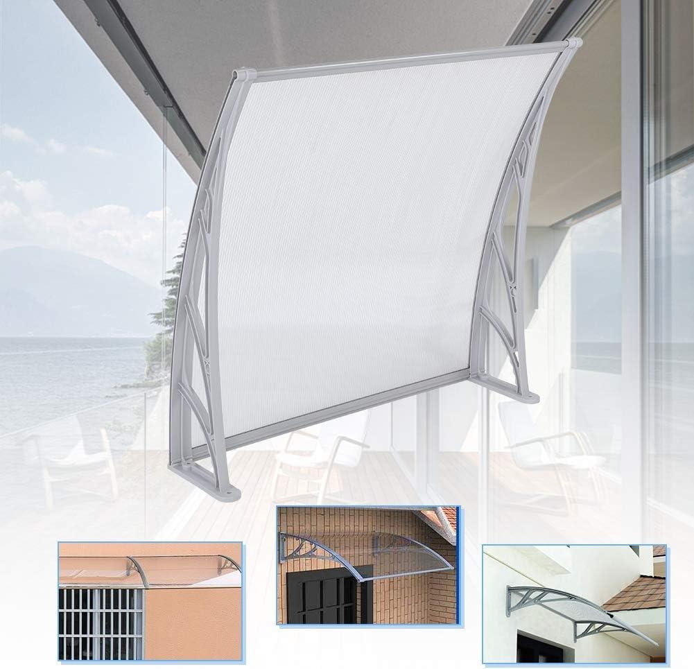 1M x 1M Marquesina Toldo Techo para Puerta,Marquesina para Puertas y Ventanas Protección contra Rayos UV Lluvia Nieve(Soporte Gris de Tablero Transparente)