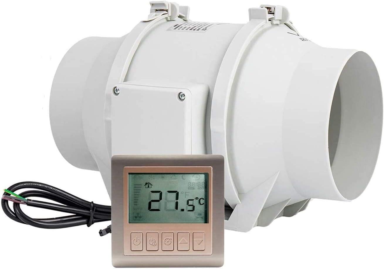 Ventilador de salida ajustable con regulador de velocidad y retardo de encendido deshumidificaci/ón ventilador de tubo silencioso HG POWER para ventilaci/ón 150 mm