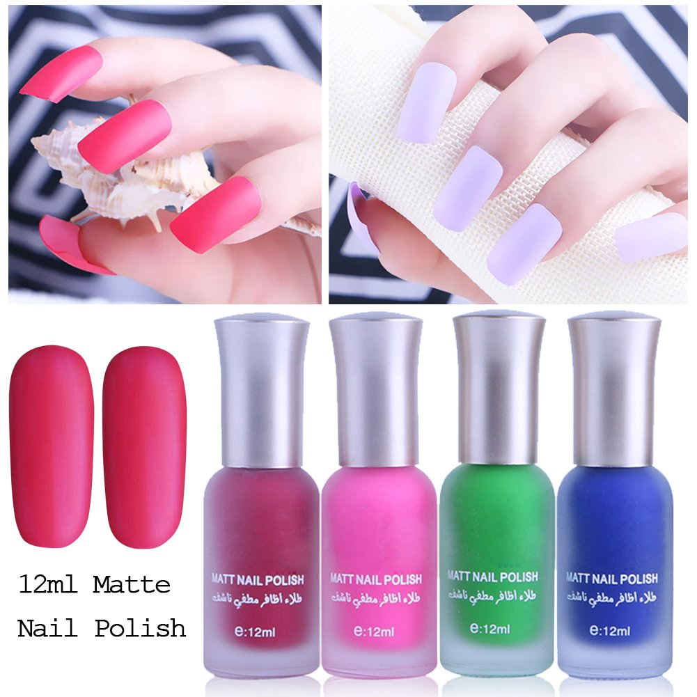 Amazon.com: Indexu 1 Bottle 12ml Satin Frosted Nail Polish Candy ...