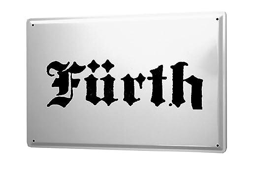 Cartel de chapa Placa metal tin sign Fürth City Nombre de la ...