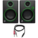 "Mackie CR Series 3"" Creative Reference Multimedia Monitors (Pair) (CR3) with Monoprice 1/8"" TRS Male to Two 1/4"" TS Male Cabl"