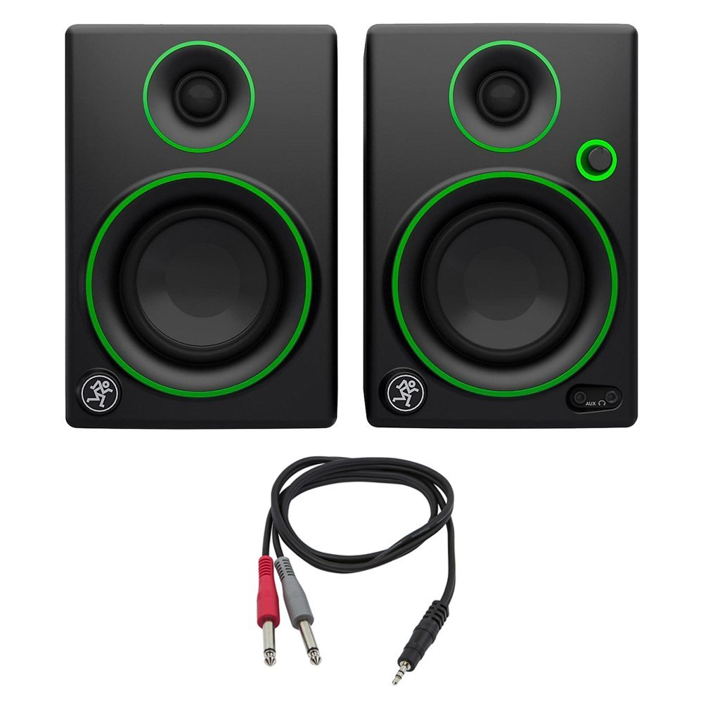 Mackie CR Series 3'' Creative Reference Multimedia Monitors (Pair) (CR3) with Monoprice 1/8'' TRS Male to Two 1/4'' TS Male Cable, 3 Feet