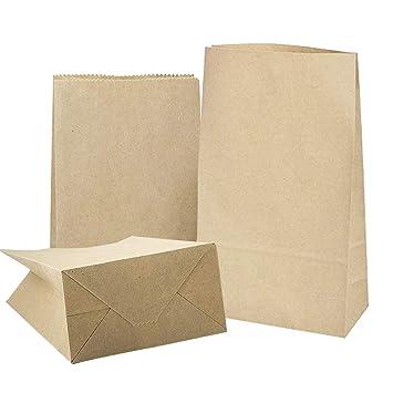 20 Kraft Marrón Bolsas de Papel con Base 32 x 18 x 11 cm, 70 gr./m2 Papel para Envolver pan Galletas y Dulces de Panadería, Ideal para Bolsas de ...