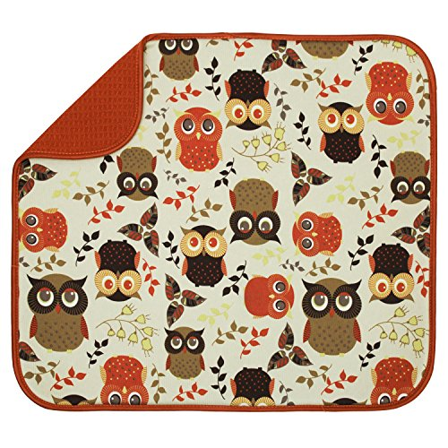 S&T INC. 582201 Owl Dish Drying Mat, Standard (Colorful Kitchen Owl Decor)