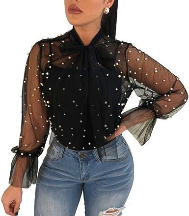 Lamarmshirt para Mujer Elegantes Lunares Vintage Blusa Transparente Basic De Hilo De Malla Camisa Bowknot Blusa Tops Negro Ropa: Amazon.es: Ropa y accesorios