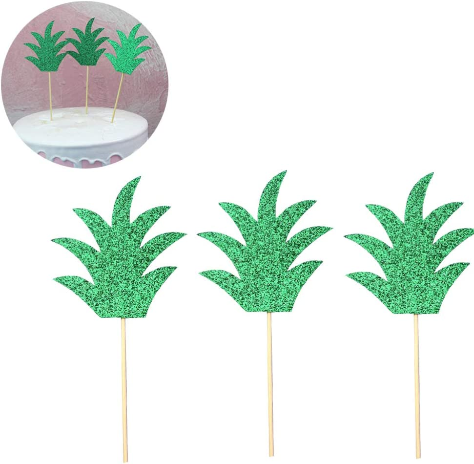 Toyvian Pineapple Leaf Cake Toppers Fruit Dessert Picks Cupcake Decoration Toppers 30 Pieces