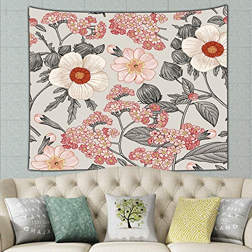 Beautiful Fabric Blooming Realistic Vintage Tapestry Wall Hanging Flower Wall Tapestry Wall Art for Living Room Bedroom Dorm -