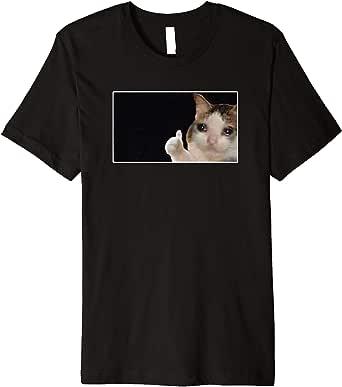 Amazon.com: Thumbs Up Crying Cat Meme Premium T-Shirt ...