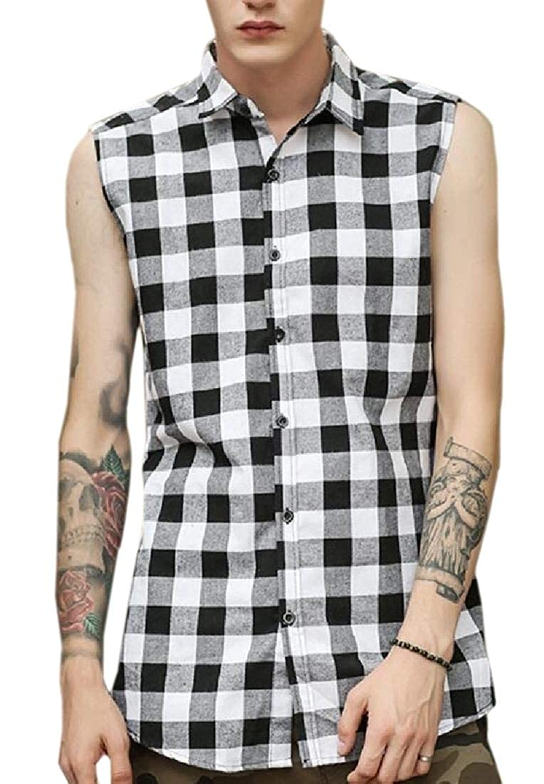 HTOOHTOOH Mens Summer Sleeveless Plaid Front Shirt Cowboy Button Down Shitrs