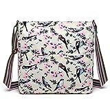Miss Lulu Messenger Bag School Bag Crossbody Satchel Shoulder Bag for Women Girls with Polka Dots Flower Horse Patterns (1104-16J Beige)