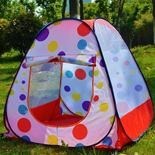 Children Play Tent Indoor and Outdoor by AIQI - Easy Folding Polka Dot Ball Pit Play House Baby Beach Tent - Zippered Storage Bag by AIQI