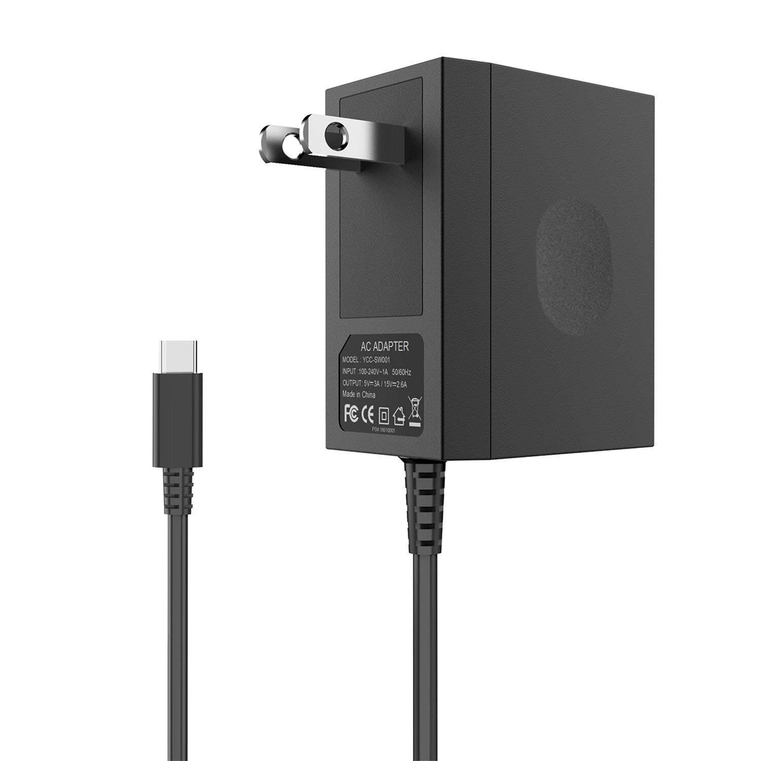 Charger for Nintendo Switch, YCCTEAM Switch Charger AC Adapter 15V/2.6A Fast Charging Replacement for Nintendo Switch with 5FT Type C Cable, Support TV Mode and Dock