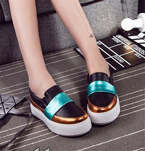 Retro Fashion Womens Platform Shoes Fashion Celebrity Slip On Shoes Loafers Black t6yRRs
