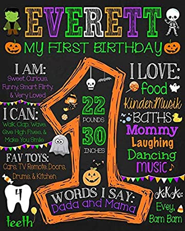 graphic regarding Printable Birthday Signs identified as : Halloween Initial Birthday Chalkboard Indication