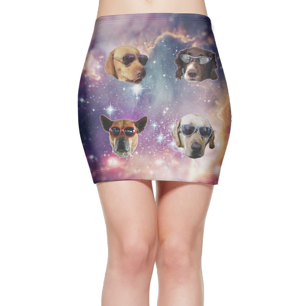 Sunglasses Dog Fashion Elastic Waist Bodycon Casual Stretchy Pencil Mini Skirt Above Knee