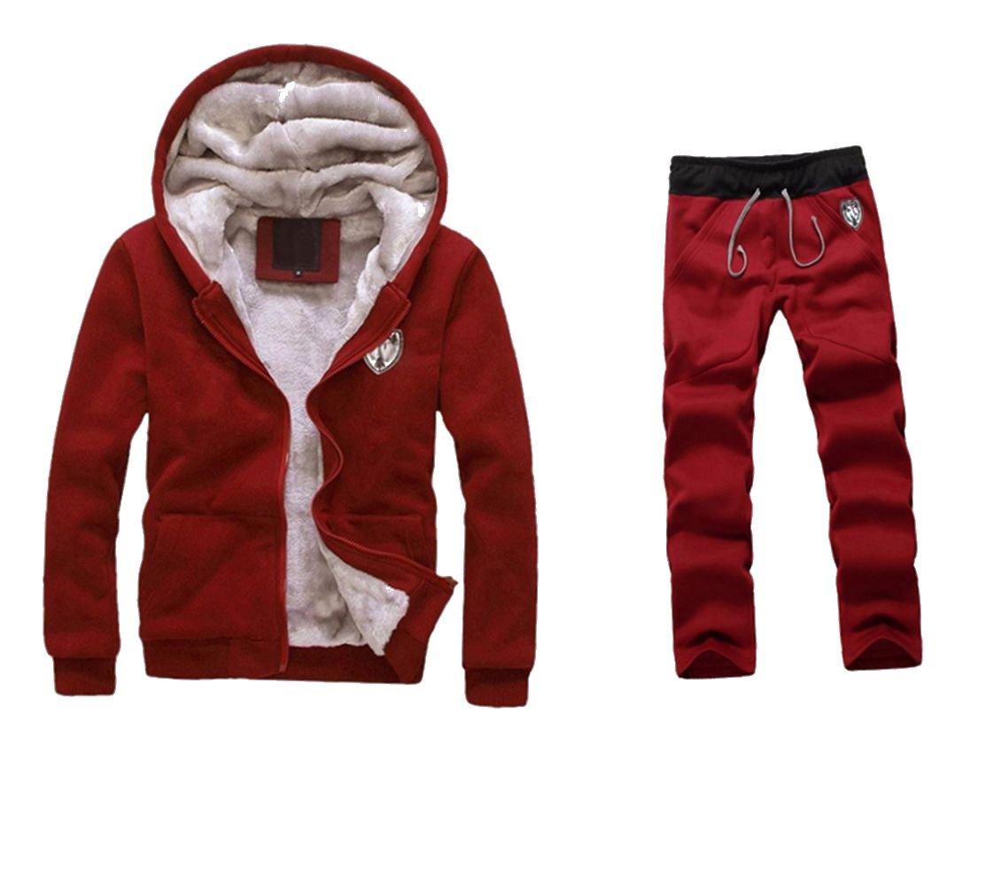 WM&MW Mens Tracksuit Warm Fleece Sport Zipper Hooded Sweatshirt Coat Hoodies+ Gym Sweat Pants (L (Asia:XL), Red) by WM&MW
