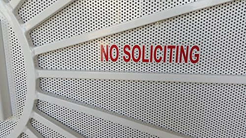 2X Best reviewed NO SOLICITING sign sticker, outdoor permanent strong back glue, transparent with red color like a stop sign to keep solicitors away! Satisfaction or free from Rayna Creations Only!