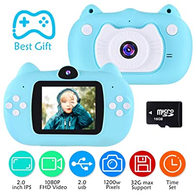 VATENIC Best Kids Camera Birthday Gift for Boys Age 3-10,1080IPS Chirldren Digital Video Camera for Girls and Boys,Toys for3 4 5 6 7 8 9 10 Year Old Boys Toys with 16GB SD Card, Blue: Toys & Games