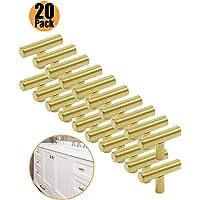 Probrico tiradores de puerta de armario de cocina (latón cepillado T Bar pomos acero inoxidable 9tamaño (50mm, 64mm, 76mm, 96mm, 128mm, 160mm, 192mm, 224mm, 256mm)