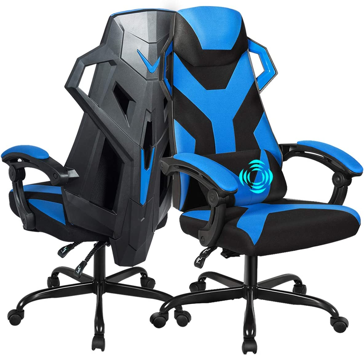 Adjustable Backrest Headrest Blue Large Size Racing Chair with USB Lumbar Pillow Armrest Giantex Massage Gaming Chair High Back Office Racing Chairs Widen Thicken Seat