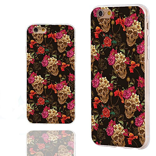 iPhone 6s Case,iPhone 6 Case,ChiChiC 360 Full Protective Shockproof Slim Flexible Soft TPU Art Design Cover Cases for iPhone 6 6s 4.7 Inch,vintage retro gold skull with pink yellow poppy flower floral