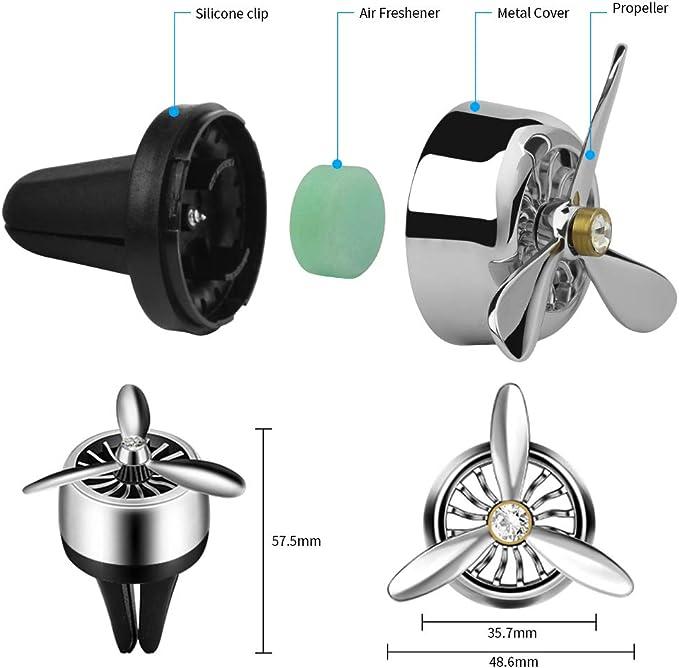 Amazon.es: Warxin Difusor de aromaterapia, purificador de aire del coche con 2 piezas de difusor para viajar con hélice de aleación de aluminio