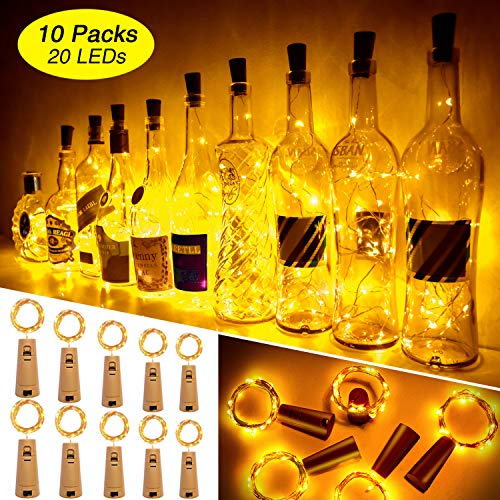 Ariceleo 20 LED 10 Packs Wine Bottle Lights Copper Wire Fairy String Light Warm White Bottle Stopper Atmosphere Lamp for Christmas Xmas Holiday Festival DIY Home Party Decoration Present Gift (Holiday Stoppers Sale Wine)