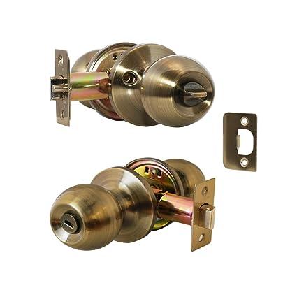 Constructor Lever Door Lock Set Knob Handle Entry Door Antique Bronze  (CHRONOS PRIVACY) - Constructor Lever Door Lock Set Knob Handle Entry Door Antique