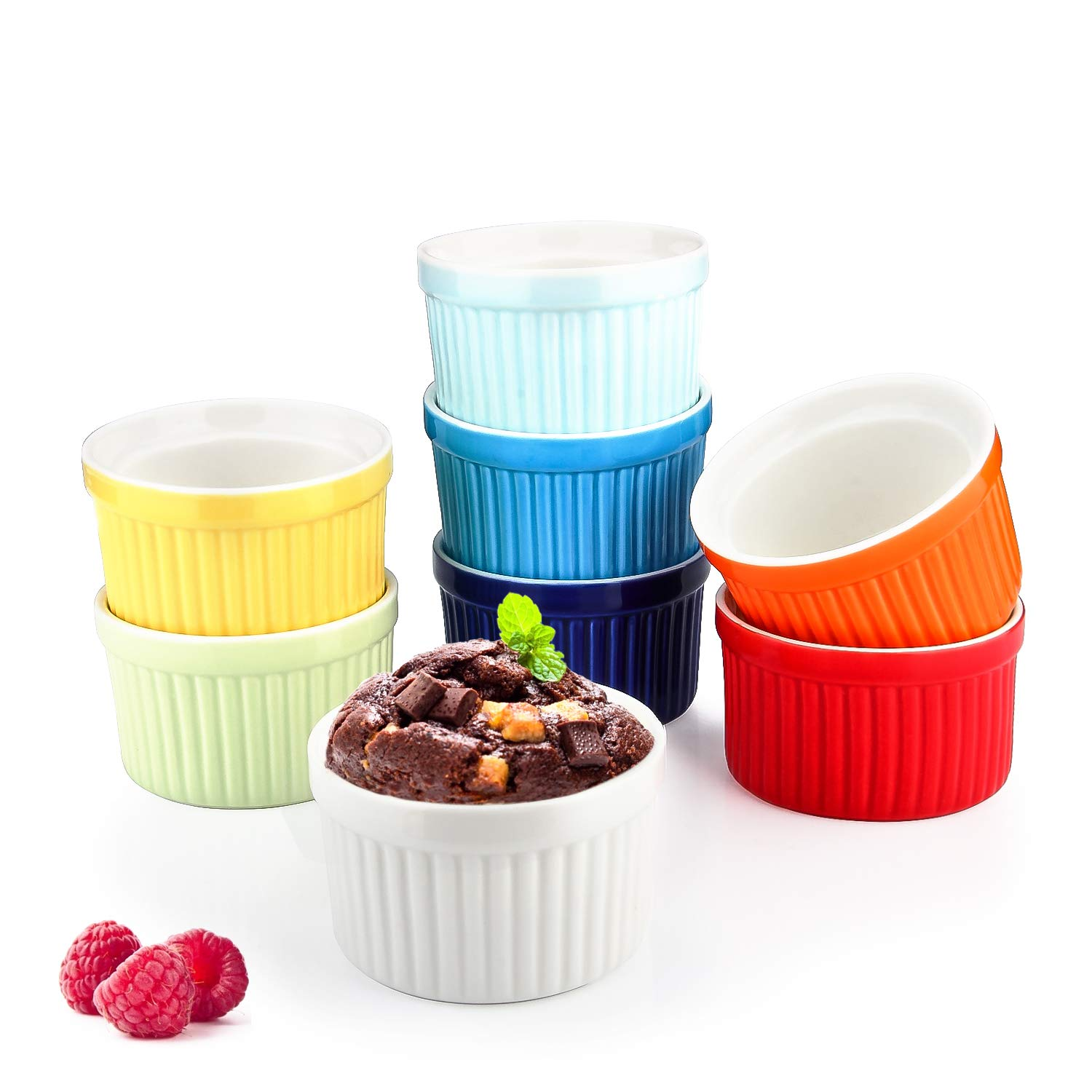 4 Oz Ramekin Bowls,WERTIOO 8 PCS Bakeware Set for Baking and Cooking, Oven Safe Sleek Porcelain Colorful Ramikins for Pudding, Creme Brulee, Custard Cups and Souffle Small instant table tray by WERTIOO