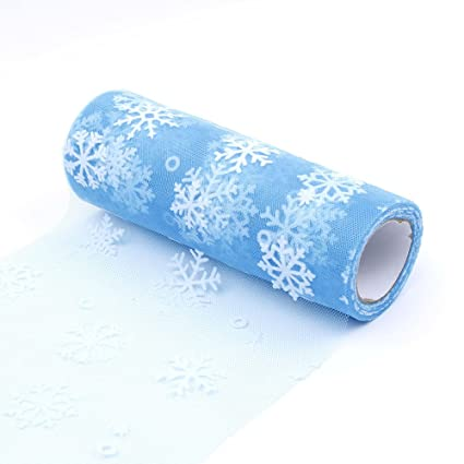 NUOMI Snowflake Tulle Rolls Organza Spool Christmas Gift Wrap Ribbons, Craft Hobby Fabric, DIY